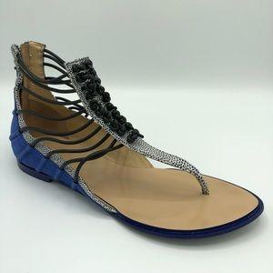 L.A.M.B Blue Black Leather Reagon Sandal Flats